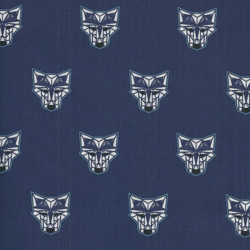 Tissu coton wolfbots fond bleu