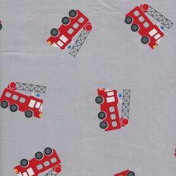 Tissu coton camion pompier fond gris