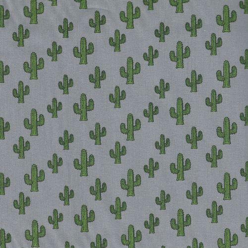 Tissu coton cactus fond gris
