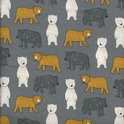 Tissu coton big bear Poppy