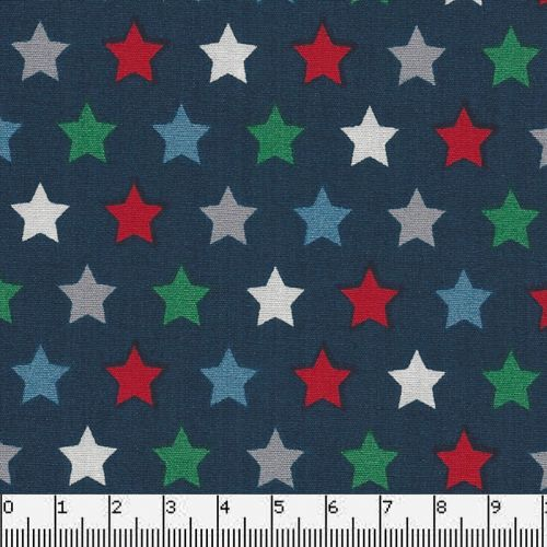 Tissu coton étoiles multi fond bleu