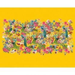 Panneau jersey fleuri jaune 120 x 150cm
