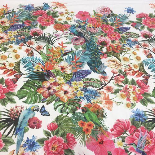 Panneau jersey fleuri blanc 120 x 150 cm