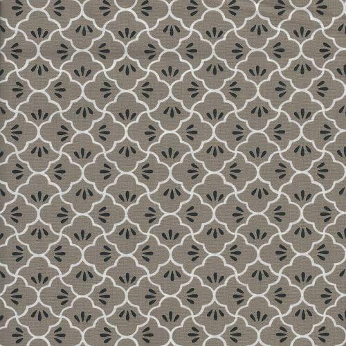 Tissu coton graphiques fond taupe