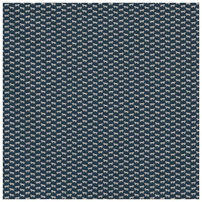 Tissu Coton Fond Bleu Fonce Petits Chevaux Blancs