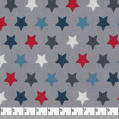 Tissu coton étoiles multi fond gris