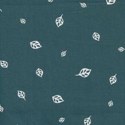Tissu  popeline Feuilles fond bleu vert