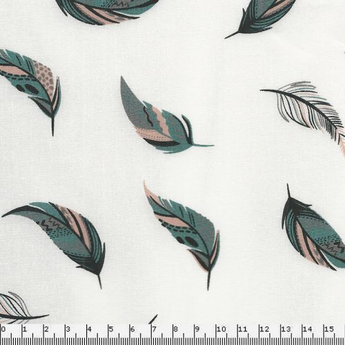 Tissu coton plumes fond blanc