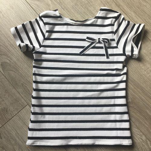 Tissu jersey marinière blanc/noir ligne lurex argent