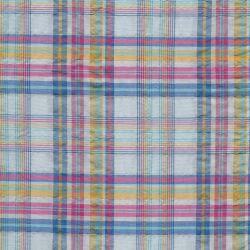 Tissu madras carreaux fond bleu
