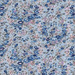 Tissu Jersey fleuris fond bleu