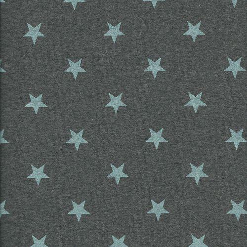Tissu sweat étoiles glitter bleu fond bleu
