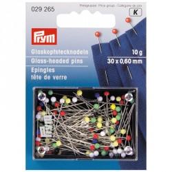 Carte Epingles tête de verre couleur 0,60x30mm