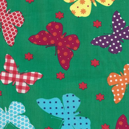 Tissu coton papillons verts