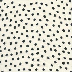 Tissu pois noir fond blanc