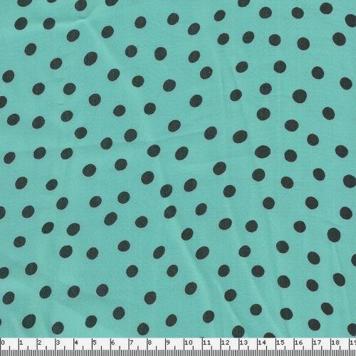 Tissu pois noirs fond vert d'eau