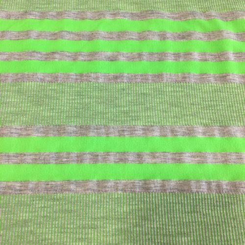 Tissu jersey rayures vert fluo fond