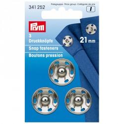 Carte 3 Boutons pression à coudre 21 mm laiton arg