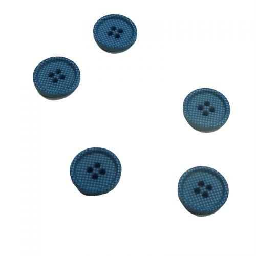 Bouton polyester 15 mm bleu