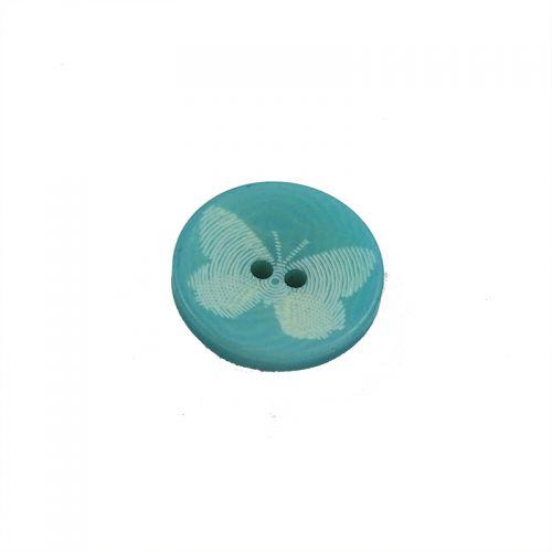 Bouton bleu motif papillon 15 mm