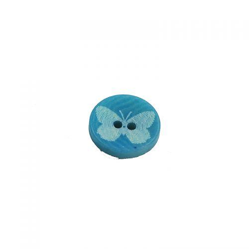 Bouton bleu motif papillon 12 mm