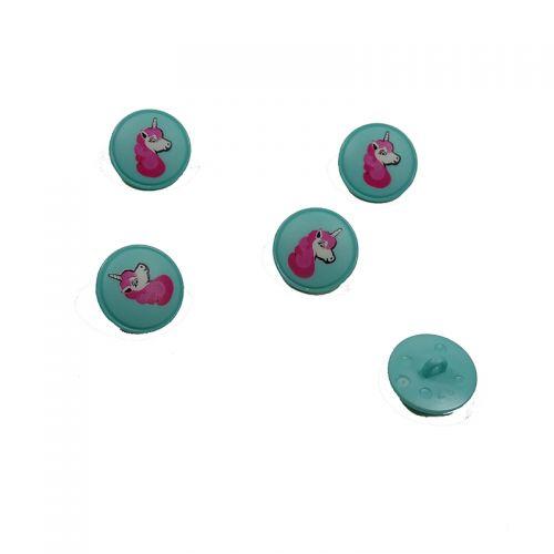 Bouton vert motif licorne 18 mm