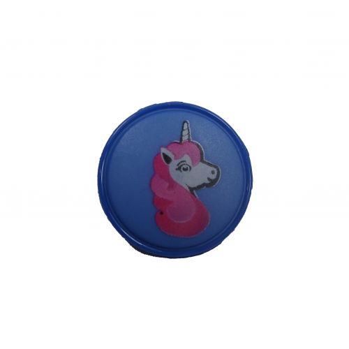 Bouton bleu motif licorne 18 mm