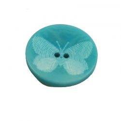 Bouton bleu motif  papillon 20mm