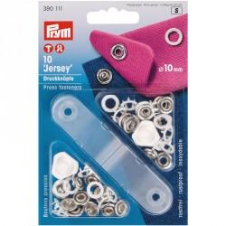 Carte 10 Boutons press. Jersey laiton 10 mm anneau