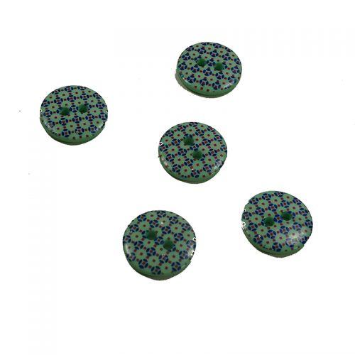 Bouton fantaisie vert 15 mm