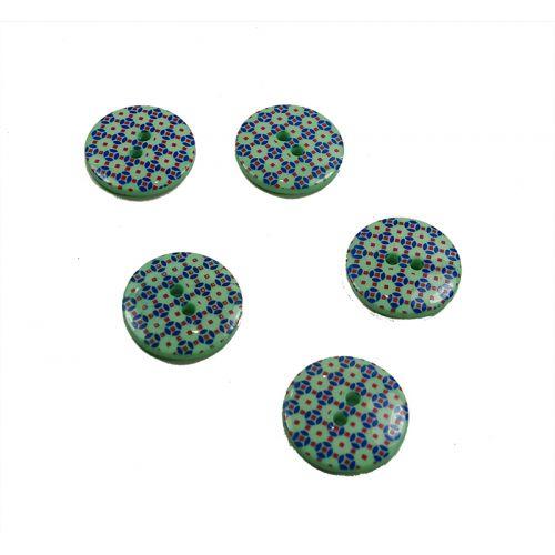 Bouton fantaisie vert 20 mm