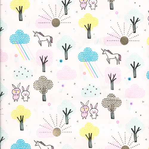 Tissu coton licornes forêt glitter fond blanc