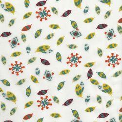 Tissu popeline plumes indiens