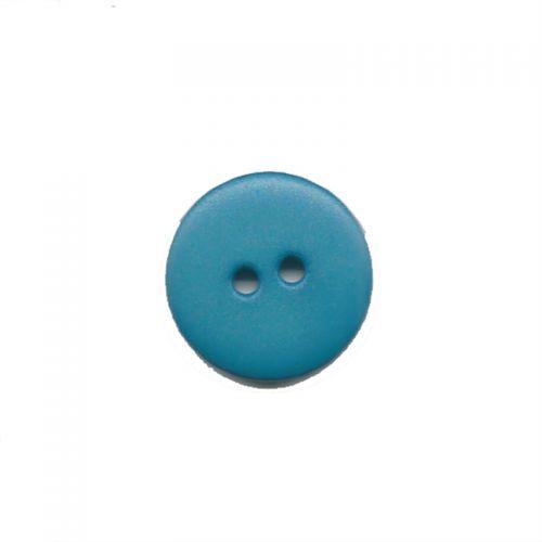 Bouton uni bleu turquoise T12mm 2 trous