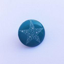 Bouton rond vert motif étoile