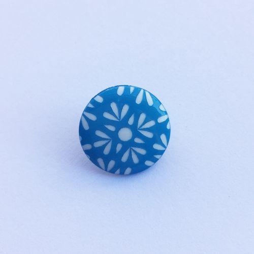Bouton fantaisie 15 mm bleu fleur