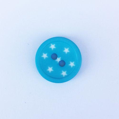 Bouton bleu turquoise étoilé