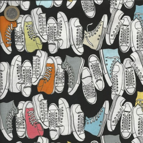 Tissu baskets multicolores fond noir