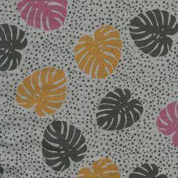 Tissu double gaze froissée palmes fond gris poppy  100% coto