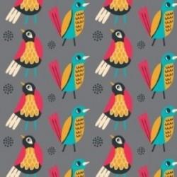 Tissu oiseaux multi fond gris