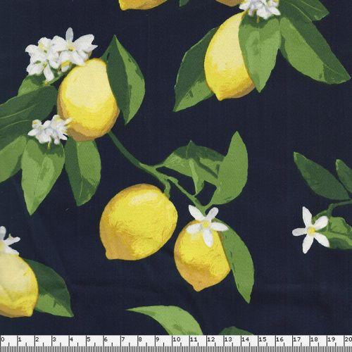 Tissu satin de coton citrons fond bleu 97%cot/3%el