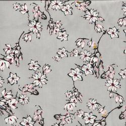 Tissu satin de coton fleurs japonisantes