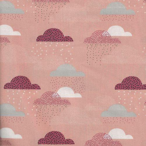 Tissu coton popeline nuages rose