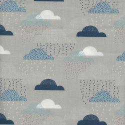 Tissu coton popeline nuages gris