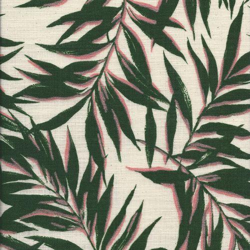 Tissu coton feuilles tropicales fond naturel