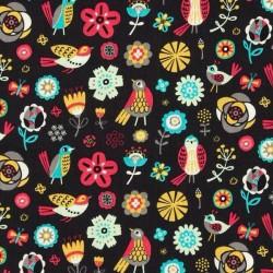Tissu oiseaux multi fond noir