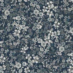 Tissu coton fleuris fond bleu marine