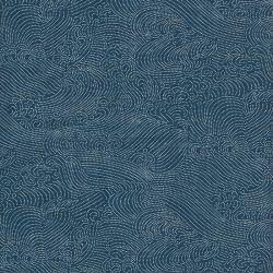 Tissu coton japonais vagues fond bleu