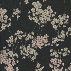Tissu crêpe de coton sakura fond noir