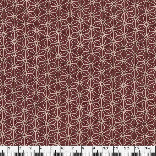 Tissu coton japonais fleurs de lin rouge